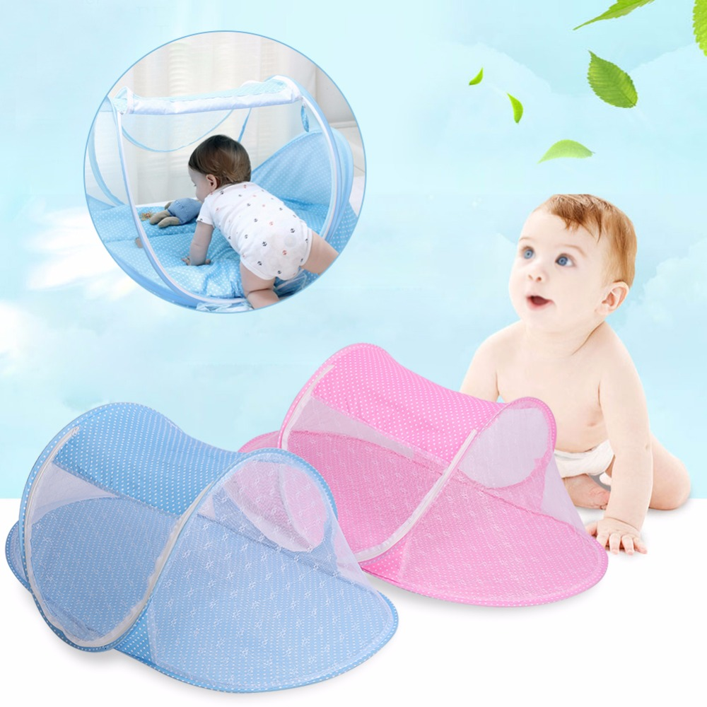 Crib tents for babies - 2colors Baby Crib Netting Infant Newborn Foldable Nursery Insect Crib Bed Cot Netting Children Canopy Mosquito