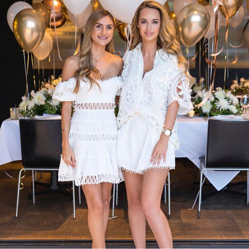 Luxury Designer Brand Dress For Women Lace Flouncing Slash Neck A Line Dress White