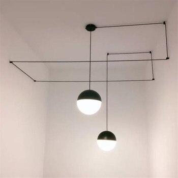 Nordique bricolage géométrique pendentif LED lignes de lampe chaîne Globle pendentif lumière boule suspension lampe salon chambre Lustre Luminares