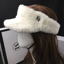 Women Super Warm Winter Cap White Black Faux Fur Visor Luxury Air Top Hat Thick Ponytail Ski Unisex