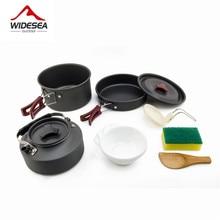 Widesea Кемпинг посуда открытый набор посуды Кемпинг посуда для приготовления пищи SET TRAVEL посуда столовые приборы Посуда Пеший Туризм набор для пикника