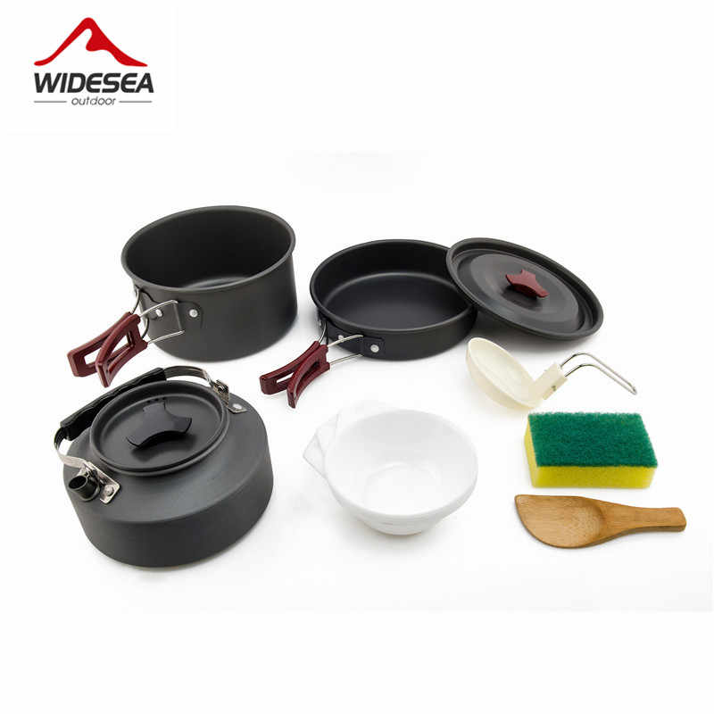Widesea Camping cookware Outdoor cookware set camping tableware cooking set travel tableware Cutlery Utensils hiking picnic set