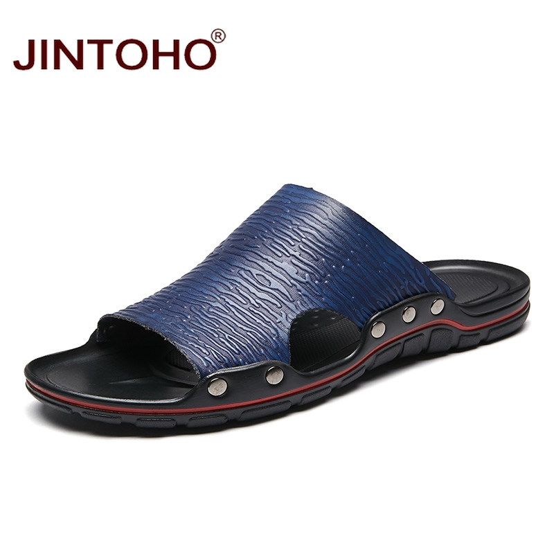 JINTOHO Beach-Slippers Large-Size Genuine-Leather Fashion Summer for Men Male