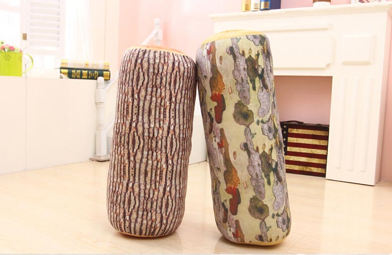 Shipping wood chopping pillow imitation tree stump neck pillow plush toy cushion birthday girl 40cm