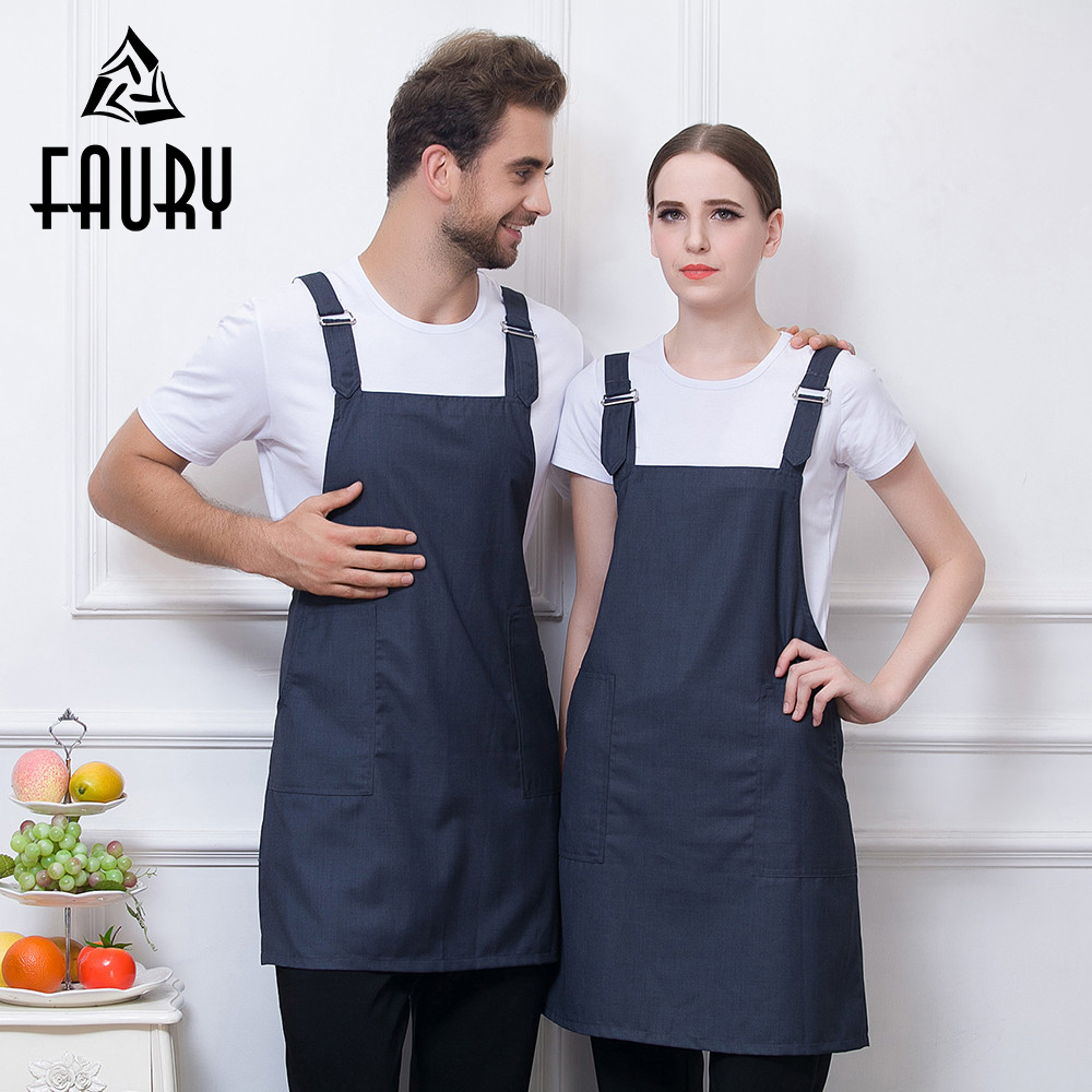 Adjustable Strappy Buttons Restaurant Chef Kitchen Cooking BBQ Apron Cafe Bakery Waiter Waitress Work Wear Uniform Apron 6 Color