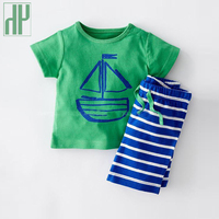Kids Clothes 2016 Fashion Summer Style Baby Boy Clothes Sets Cartoon T Shirt Striped Pant Toddler