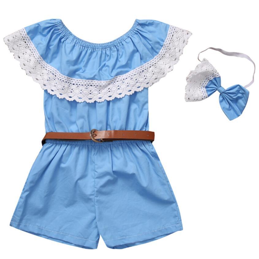 2018 Новый горячий Семья «Мама и я» для маленьких девочек синий плечо кружева рукавов рубашка в полоску Шорты комбинезон пояс наряды P30