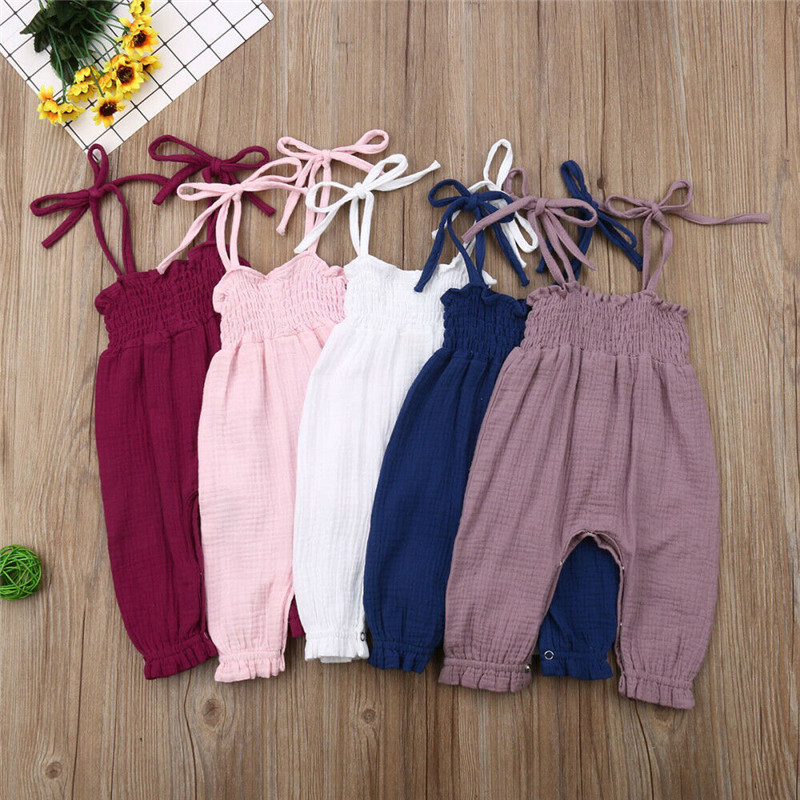 2019 Summer Kids Toddler Baby Girls Sleeveless Bandage   Rompers   Jumpsuit Overalls Infant Girls Cotton Playsuit Clothes Outfits