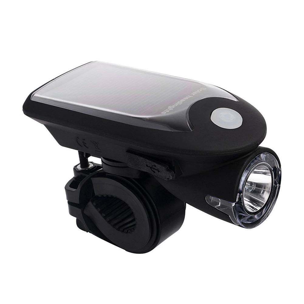 Hot LED USB Rechargeable Bike Light Headlight Solar Energy Bicycle Front Light Waterproof With 360 Degree Rotating Mount