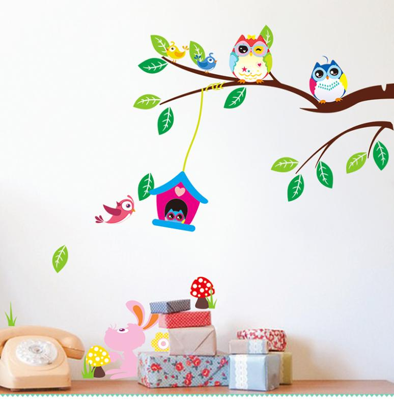 Cartoon wise owls tree birds rabbit animal wall stickers - Dessin mural chambre fille ...