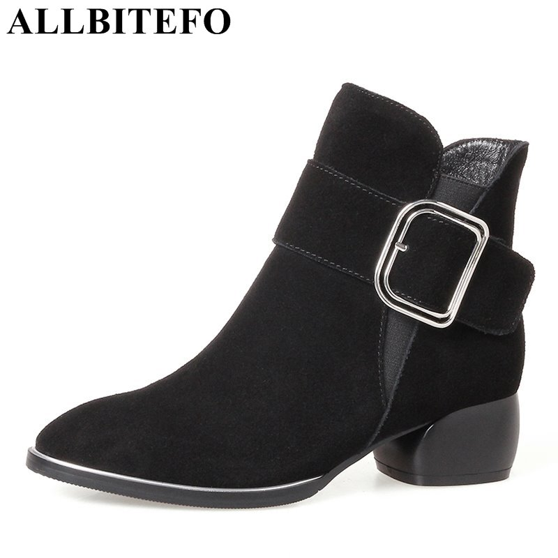 ALLBITEFO hot sale Nubuck leather pointed toe thick heel women boots buckle medium heel girls boots winter boots size:34-42 hot sale open front geometry pattern batwing winter loose cloak coat poncho cape for women