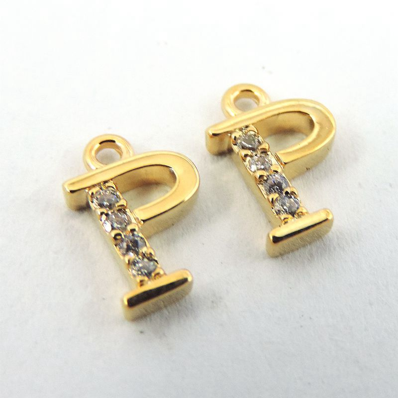 1 pcs gold brass created imitation simulated diamond letter p letter charms necklace pendant 11