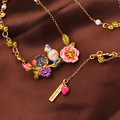 Romantic Fashion Enamel Glaze Leiothrix Blue Tit Three-dimensional Pink Colour Rose Ma'am Necklace Short Chain