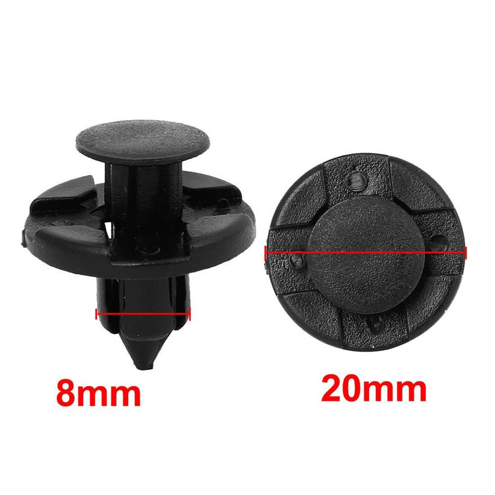 50 PCS 8mm Dia Hole Plastic Rivets Fastener Push Clips Black for Car Auto Fender