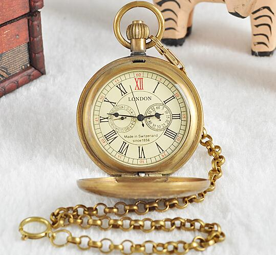 Unisex Bronze Vintage Retro Copper Watch Men Alloy Mechanical Pocket Watch With Metal Chain Steampunk Watch Roman PJX1040 old retro bronze pocket watch doctor who design quartz fob watch with chain necklace