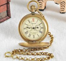 Unisex Bronze Vintage Retro Copper Watch Men Alloy Mechanical Pocket Watch With Metal Chain Steampunk Watch Roman PJX1040