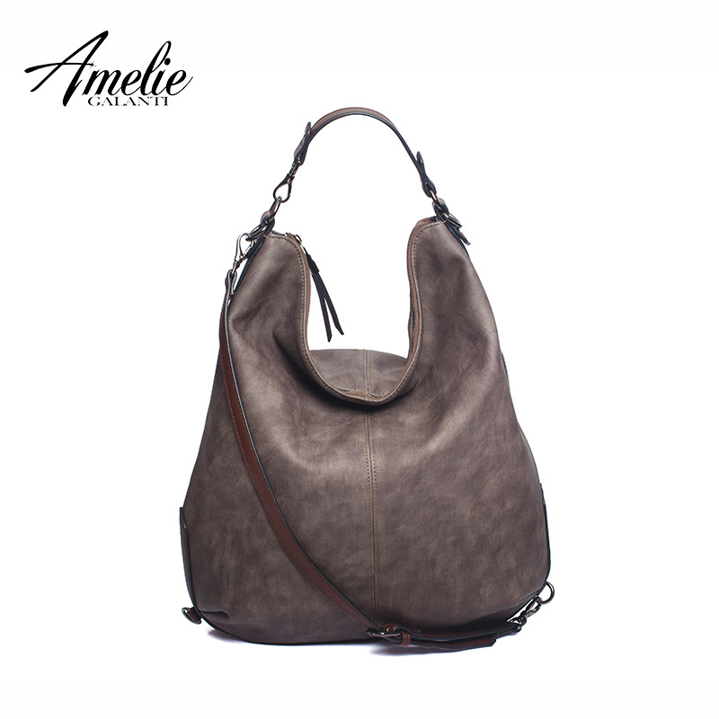 AMELIE GALANTI casual women bag half moon style new fashion trend with zipper solid made of PU and cotton versatile 2017 new half moon run half moon run sun leads me on lp
