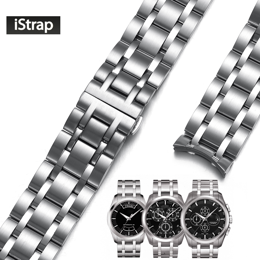 iStrap 22mm 23mm 24mm Dedicated Stainless Steel Watch Band Silver Watchband Replacement Watch Strap for Tissot Couturier T035 все цены