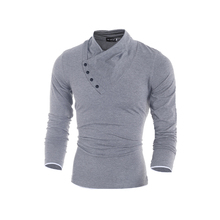 Mens 100% Cotton Oblique Button Collar T Shirt Fashion Men Long Sleeve T Shirts Slim fit T-Shirt