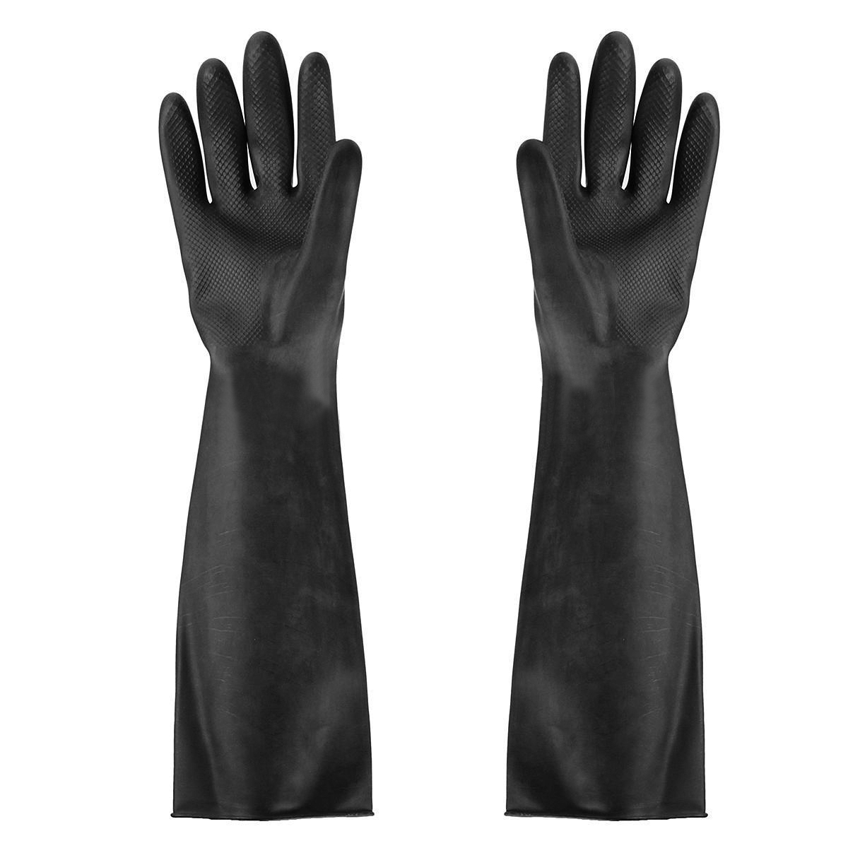 Black gardening gloves - Black Long Protective Garden Industry Rubber Gloves Elastic Anti Acid Alkali Rubber Work Comfortable Chemical Gloves