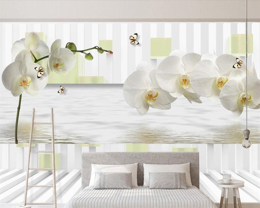 Beibehang Custom wallpaper stereo white phalaenopsis reflection TV background wall 3d living room bedroom murals 3d wallpaper