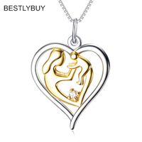 Fashion Mother's Day Gift Mother Daughter Mom Baby Child Family Love Heart shaped Pendant Necklace For Mom 925 Silver Jewelry