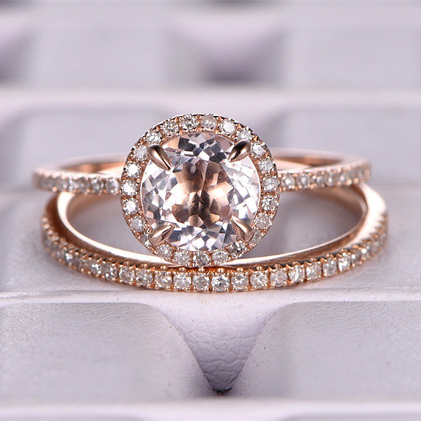 Ring for Wome 7mm 15CTRound Cut Morganite Bridal Set Engagement