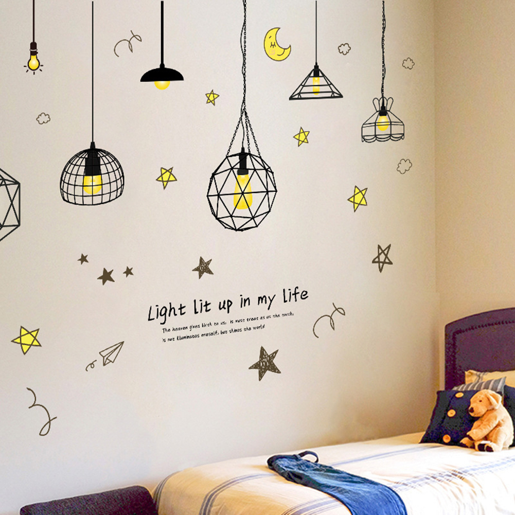 Hanging lamp wall sticker electric light vinyl kitchen dining room wall stickers decor removable decals wallpaper home decor in wall stickers from home
