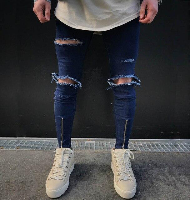 69c980dd811d 2018 Hot Sale Knee hole Ripped Men's Skinny jeans Hip Hop Bottom Zipper  Stretch Denim Punk Rap Pants biker motorcycle men jeans
