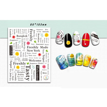 Nail Sticker/Text Manicure Sticker Graffiti Text Poster Fashion Street Style DIY