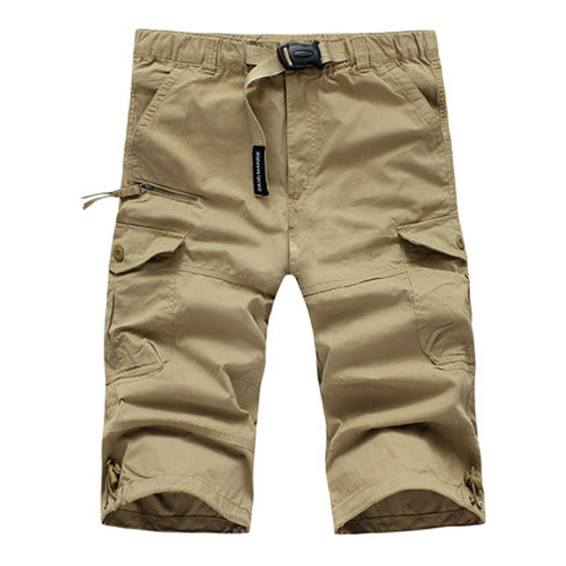 Casual Men Joggers Cargo Trouser Summer Loose Cotton Military Short Pants Solid Pockets Brand Shorts Pantalon Hombre Plus Size