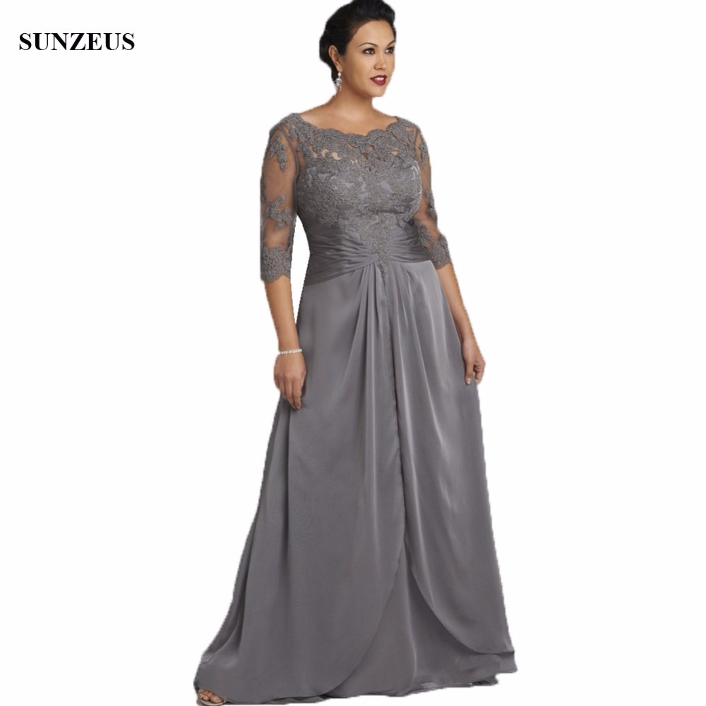 Plus Size Mother Bride Dresses: Appliques Half Sleeve Grey Mother Of The Bride Dress Plus