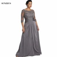 Appliques Half Sleeve Grey Mother Of The Bride Dress Plus Size Long Women Party Gowns Chiffon CM042