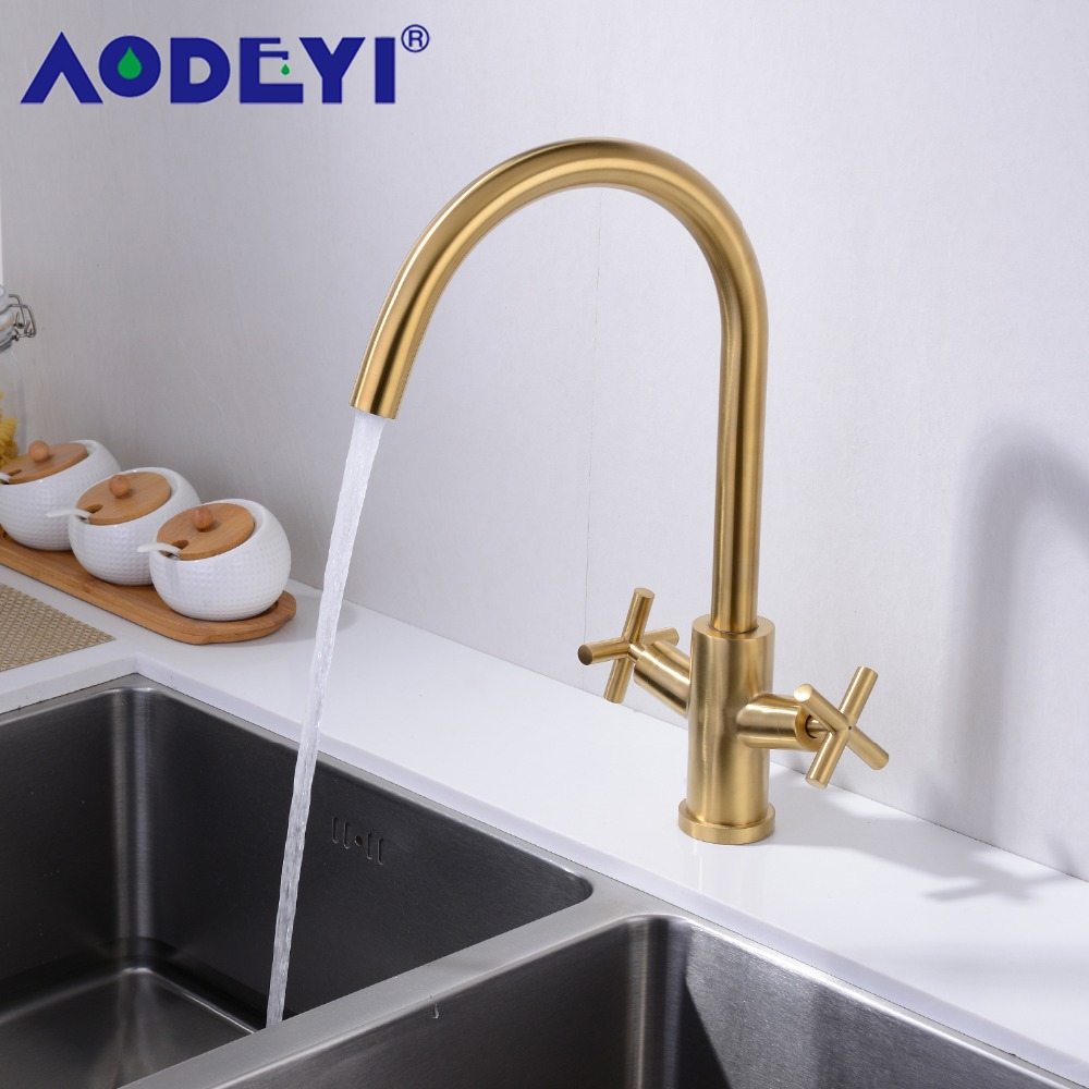Aodeyi Promotion Solid Brass Hot And Cold Kitchen Faucet Sink Mixer Tap With Aerator Sink Faucet Brushed Gold/Black 13 022