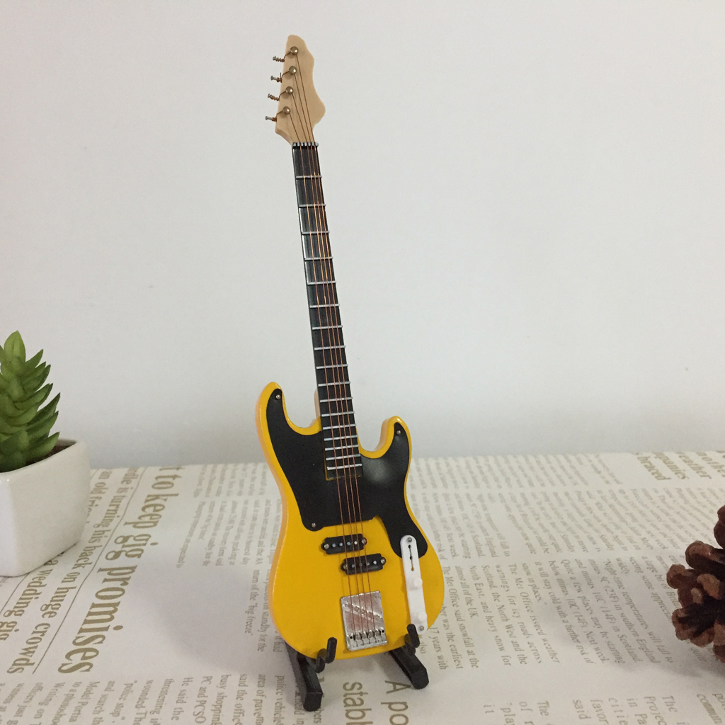 20cm Doll Wooden Electric Bass with Strap Model for 1//6 Action Figure Yellow