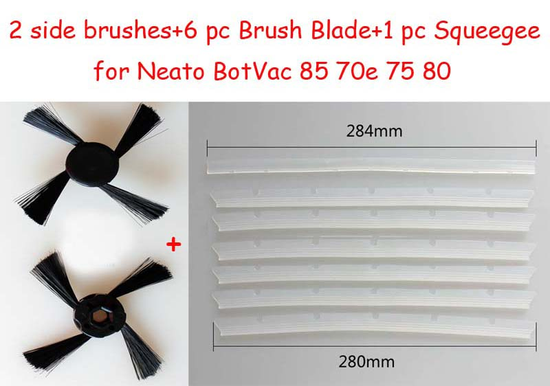 9 pc/lot Neato 2 side brushes+6 pc Brush Blade+1 pc Squeegee Replacement Pack for Neato BotVac 85 70e 75 80 Robotic beater brush