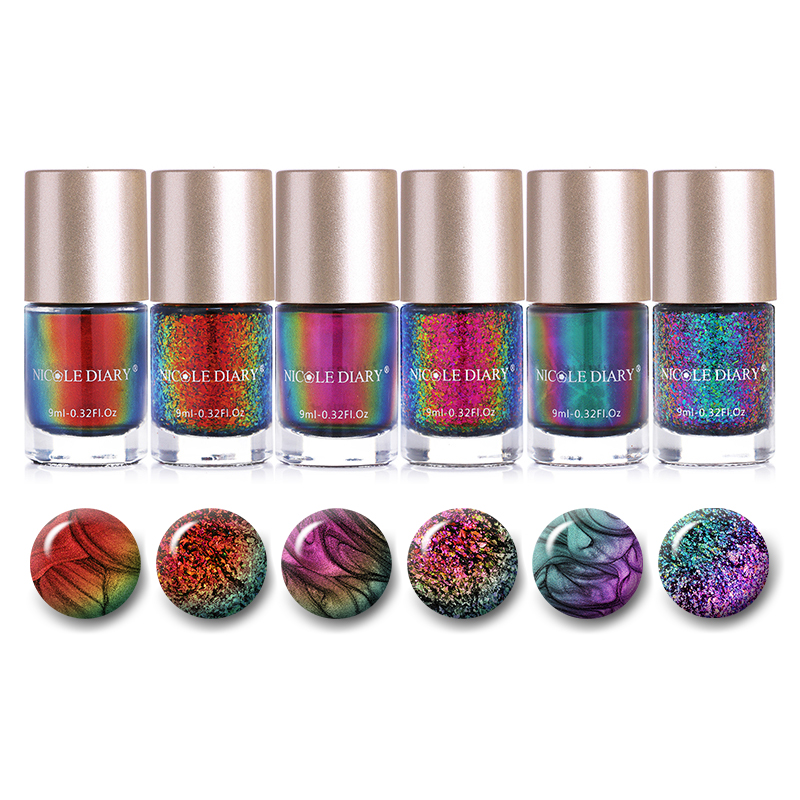 NICOLE DIARY Nail Polish Set Stamping Holographic Shiny Glitter Chameleon Metallic Nail Art Lacquer Varnish 9ml 5 6 Botttles in Nail Polish from Beauty Health