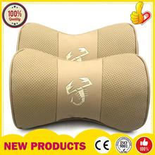 2X High quality Beige Car Genuine Leather Safety Pillow Abartth Scorption Logo Relax Neck Headrest Support Cushion