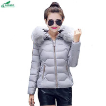 Winter clothing 2017 autumn short paragraph hooded large fur collar jacket Outerwear women s thick warm