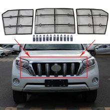 3pcs Car Insect Screening Mesh Front Grille Insert Net For Toyota Land Cruiser Prado 150 FJ150 2014 2015 2016 2017 Accessories(China)