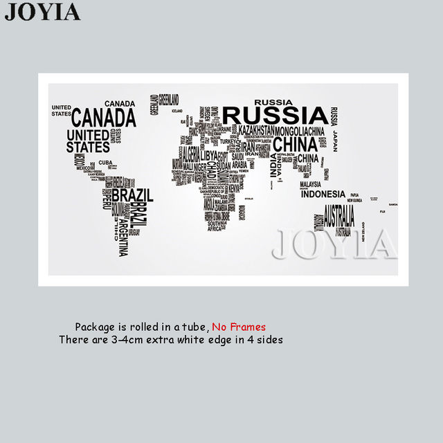 Online shop large world map canvas art english words country names large world map canvas art english words country names word art black and white print wall painting home office room wall decor gumiabroncs Image collections