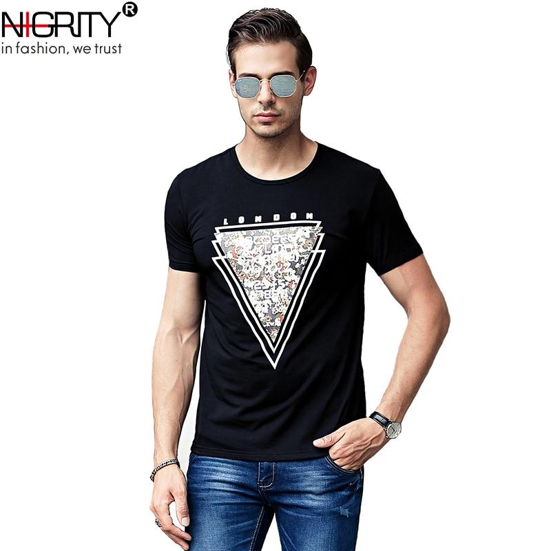NIGRITY mens t shirt New Casual short sleeve o-neck Inverted triangle printed modal t-shirt men brand tee shirt big size M-4XL 63