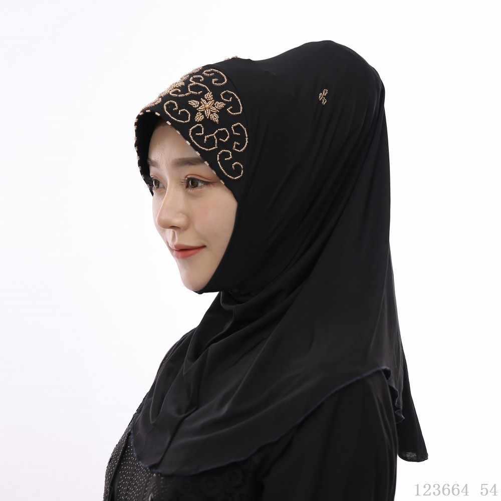 Малазийский хиджаб шарф для мусульманского Абайи платье из бисера тюрбан сплошной цвет тюрбанты индонезийский удобный jilbaw исламские женские шапки