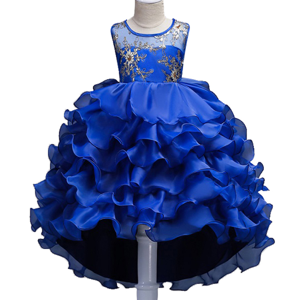 High Quality Sequins embroidery Girls Princess Children Christmas girl dress For Wedding 2-14 Years teenager Party Prom Dresses girl party dress princess dress high quality embroidery lace flower girl dresses children clothing girl wedding dress