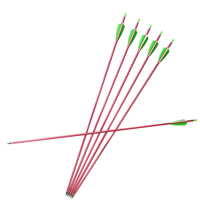 6/12pcs Spine500 Archery Aluminum Arrow 100gr Shield Rubber Feather Outdoor Hunting Shooting Practice Accessories