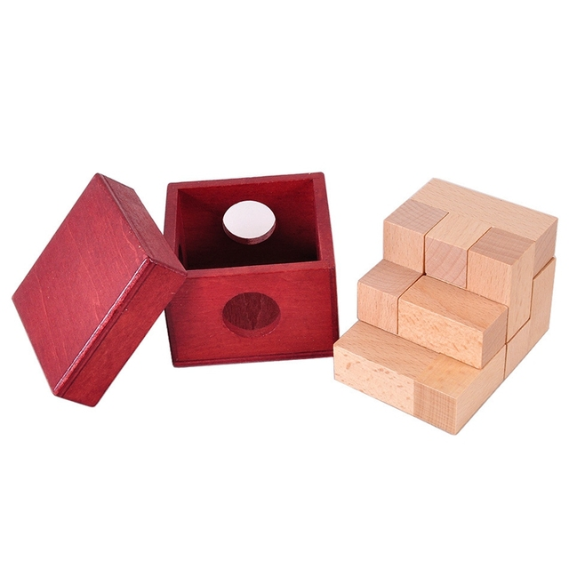 IQ Wooden Soma Cube Red Wooden Box with Cube Puzzle Logic Brain Teaser Wood Game Toys 3D Puzzles for Teens Adults Children Gifts