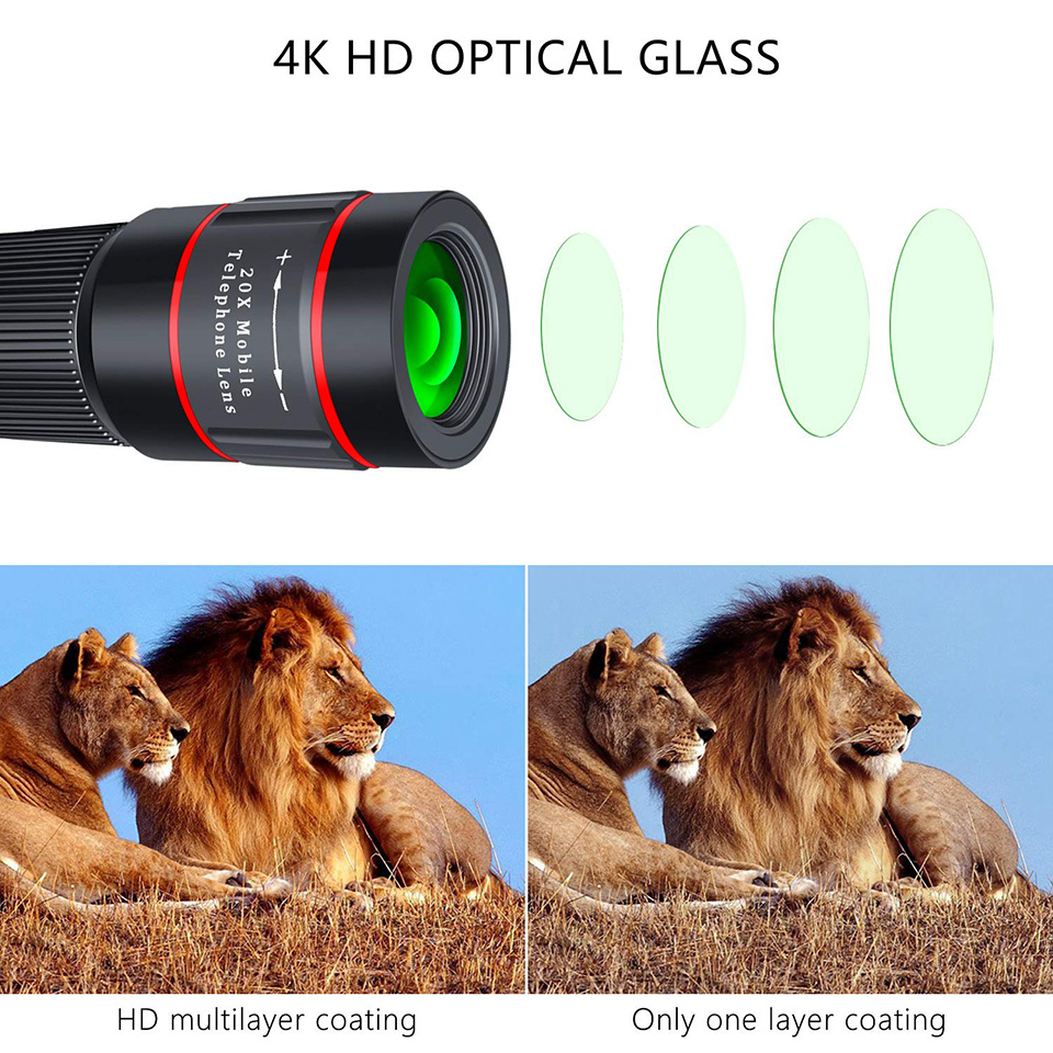 Universal 4K HD Monocular Telescope Phone Camera Lens For iPhone Xs XR Samsung With Clip