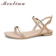Meotina/натуральная кожа обувь Летние женские босоножки на плоской подошве женская обувь на плоской подошве пляжные сандалии пляжная обувь золотистый и черный абрикос 34-39