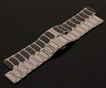 Nueva cerámica Combinan acero inoxidable 20mm 22mm blanco negro correa de reloj de pulsera reloj correas accesorios de plata hebilla de despliegue