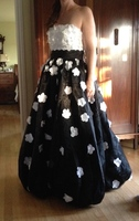 Strapless White Floral Applique Ball Gown Black Pageant Prom Dresses Special Occasion Gowns Custom Made Color